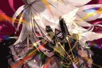 1boy blue_eyes collar eye_beam fate/apocrypha fate_(series) hand_on_own_face heterochromia jewelry karna_(fate) kdm_(ke_dama) male_focus portrait red_eyes spiked_collar spikes white_hair
