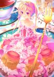 1girl absurdres bangs bare_shoulders blonde_hair blush cake_dress crossed_bangs cup dennryuurai dress elbow_gloves flower food food_themed_clothes fork gloves hair_between_eyes highres holding holding_fork long_hair looking_at_viewer minigirl open_mouth original red_eyes solo strapless strapless_dress tea teacup tiara white_flower white_gloves
