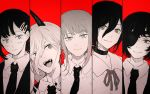 5girls black_choker black_eyepatch black_hair black_horns black_neckwear blush business_suit chainsaw_man choker collared_shirt demon_girl demon_horns expressionless eyepatch fangs formal hair_between_eyes head_tilt higashiyama_kobeni himeno_(chainsaw_man) horns long_hair looking_at_viewer looking_to_the_side makima_(chainsaw_man) medium_hair monster_girl multiple_girls necktie one_eye_covered open_mouth panels power_(chainsaw_man) red_background reze_(chainsaw_man) ribbon ringed_eyes sharp_teeth shirt short_hair simple_background smile smirk suit teeth upper_body user_dxdh5474 white_shirt