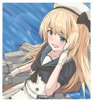 1girl blonde_hair blue_eyes blue_sailor_collar blurry cowboy_shot depth_of_field dress gloves hat highres jervis_(kantai_collection) kantai_collection long_hair machinery sailor_collar sailor_dress sailor_hat saplus solo twitter_username water white_dress white_gloves white_headwear
