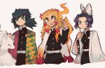^_^ animal_on_shoulder belt bird bird_on_shoulder black_hair blonde_hair blue_eyes bug butterfly butterfly_on_head butterfree charamells closed_eyes closed_mouth commentary cowboy_shot creature crossover english_commentary eyelashes gen_1_pokemon highres insect kimetsu_no_yaiba kochou_shinobu legendary_pokemon lipstick makeup moltres multicolored_hair ninetales on_head on_shoulder pokemon pokemon_(creature) pokemon_on_head pokemon_on_shoulder purple_hair rengoku_kyoujurou simple_background standing tomioka_giyuu two-tone_hair violet_eyes white_background white_belt yellow_eyes