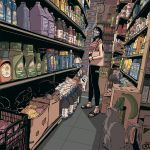 1girl animal artist_name ashleyloob bag banana beanie black_hair black_legwear bottle box bracelet cardboard_box cat cat_tail clock convenience_store crate crop_top food fruit glasses grey_cat hat indoors jewelry leggings long_hair looking_at_animal mask mouth_mask onion original perspective potato product_placement sack sandals shelf shirt shop shopping socks soda solo striped striped_shirt tail tile_floor tiles wide_shot