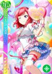 blush character_name dress love_live!_school_idol_festival love_live!_school_idol_project nishikino_maki redhead short_hair smile violet_eyes wink