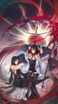 2girls absurdres arm_support backless_outfit belt black_dress black_hair blood bloody_weapon bone chain character_request choker corset cross dress dungeon_and_fighter eyebrows_visible_through_hair feathered_wings gloves grey_eyes hair_between_eyes half_gloves halo high_heels highres horns jacket looking_at_viewer medium_hair milcona multiple_girls multiple_wings nail off-shoulder_jacket off_shoulder pantyhose petals red_gloves scythe skull smile tattoo thigh-highs weapon white_jacket wings