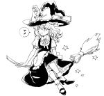 1girl apron black_dress bow braid broom broom_riding dress frilled_bow frilled_dress frills hair_bow hat hat_bow kirisame_marisa looking_to_the_side monochrome musical_note natsume_(menthol) puffy_short_sleeves puffy_sleeves shoes short_sleeves side_braid single_braid star touhou waist_apron white_background white_bow witch_hat