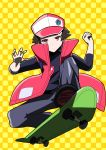 1boy absurdres baseball_cap black_footwear brown_hair checkered checkered_background closed_mouth commentary_request fujiwara_echi full_body hat highres male_focus pokemon pokemon_(game) pokemon_rgby red_(pokemon) red_eyes riding shoes skateboard spiky_hair yellow_background
