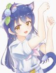 1girl animal_ears bangs blue_hair blush cat_ears cat_tail commentary_request eyebrows_visible_through_hair hair_between_eyes highres kemonomimi_mode long_hair looking_at_viewer love_live! love_live!_school_idol_project omoi_seiji open_mouth paw_pose short_sleeves simple_background solo sonoda_umi tail white_background yellow_eyes