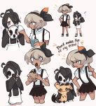1boy 1girl black_hair black_ribbon charamells commentary dark_skin english_commentary english_text gen_7_pokemon grey_eyes grey_hair hair_ribbon highres long_sleeves mask mask_removed mimikyu onion_(pokemon) pokemon pokemon_(game) pokemon_swsh ribbon saitou_(pokemon) short_hair short_sleeves simple_background violet_eyes white_background