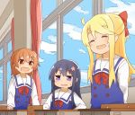 3girls :3 :d blonde_hair blush bow brown_eyes brown_hair chair classroom closed_eyes clouds cloudy_sky commentary curtains desk dress eyebrows_visible_through_hair fang flower hair_bow hair_flower hair_ornament highres himesaka_noa hoshino_hinata indoors long_hair looking_at_another manse multiple_girls on_chair open_mouth red_bow sailor_collar sailor_dress school_chair school_desk school_uniform shirosaki_hana sitting skin_fang sky smile standing sweatdrop violet_eyes watashi_ni_tenshi_ga_maiorita! white_sailor_collar window