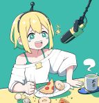 1girl :d amano_pikamee black_hairband blonde_hair bra bra_strap bright_pupils doughnut fingernails food green_background green_bra green_eyes green_hair green_nails gyari_(bird) hairband happy_tears highres jacy laughing long_sleeves microphone multicolored_hair nail_polish open_mouth pizza plate punching sharp_teeth short_hair simple_background smile solo steam sweater tears teeth two-tone_hair underwear virtual_youtuber voms white_sweater wide_sleeves