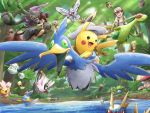 :d amoonguss ayo_(ayosanri009) barboach bellsprout bird black_eyes bug burmy burmy_(plant) butterfly butterfree carvanha celebi cherrim cherrim_(sunshine) comfey commentary_request cottonee cramorant day fish flygon flying forest frown gen_1_pokemon gen_2_pokemon gen_3_pokemon gen_4_pokemon gen_5_pokemon gen_7_pokemon gen_8_pokemon greedent green_eyes hair_between_eyes happy hatted_pokemon insect koko_(pokemon) looking_at_another looking_at_viewer mothim mudkip mythical_pokemon nature nuzleaf oddish open_mouth outdoors pikachu pokemon pokemon_m23 riding riding_pokemon roggenrola satoshi_(pokemon) seedot skwovet smile spiky_hair standing sunlight tree water wormadam wormadam_(plant) zarude