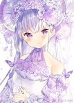 1girl bangs blush bonnet bug butterfly butterfly_on_shoulder chin_strap choker closed_mouth commentary_request detached_sleeves eyebrows_visible_through_hair flower frilled_sleeves frills hair_flower hair_ornament halterneck highres ikari_(aor3507) insect lace lace_choker long_hair looking_at_viewer original purple_flower purple_ribbon purple_theme ribbon sleeve_ribbon smile solo steepled_fingers twitter_username upper_body violet_eyes
