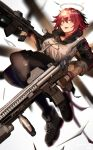 1girl 360_(pixiv47196062) arknights assault_rifle bangs black_gloves black_legwear blush commentary_request dual_wielding exusiai_(arknights) fangs fangs_out fingerless_gloves full_body gloves gun h&k_hk416 hair_between_eyes halo highres holding holding_gun holding_weapon jacket looking_at_viewer open_mouth orange_eyes pantyhose redhead rifle short_hair skirt smile solo weapon white_jacket