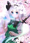 1girl aqua_eyes ascot bangs black_ascot black_bow black_hairband black_ribbon blue_butterfly blunt_bangs bob_cut bow bowtie bug butterfly cherry_blossoms collared_shirt eyebrows_visible_through_hair ghost green_skirt green_vest hair_ribbon hairband highres hitodama insect katana konpaku_youmu konpaku_youmu_(ghost) puffy_short_sleeves puffy_sleeves ribbon shirt short_hair short_sleeves skirt skirt_set sword touhou vest weapon white_hair white_shirt yuujin_(mhhnp306)