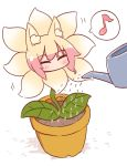 1girl ^_^ animal_ear_fluff animal_ears bangs blush closed_eyes eighth_note eyebrows_visible_through_hair flower flower_pot fox_ears fox_tail highres kemomimi-chan_(naga_u) musical_note naga_u original plant potted_plant shadow solo spoken_musical_note tail water watering watering_can white_background yellow_flower