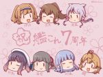 6+girls anniversary bandaid bandaid_on_face bangs blue_hair blush braid brown_hair character_name closed_eyes eyebrows_visible_through_hair flower fumizuki_(kantai_collection) grey_hair hair_flaps hair_ribbon hairband hatsukaze_(kantai_collection) i-26_(kantai_collection) kantai_collection kurohiruyume light_brown_hair long_hair multiple_girls oboro_(kantai_collection) one_eye_closed open_mouth pink_background ponytail purple_hair remodel_(kantai_collection) ribbon short_hair silver_hair simple_background single_braid smile tsushima_(kantai_collection) two_side_up umikaze_(kantai_collection) usugumo_(kantai_collection)