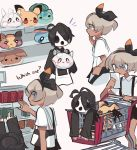 1boy 1girl black_hair black_ribbon charamells commentary dark_skin eevee english_commentary english_text galarian_corsola galarian_form gen_1_pokemon gen_7_pokemon gen_8_pokemon grey_eyes grey_hair hair_ribbon highres holding holding_paper long_sleeves mask mimikyu morpeko morpeko_(full) onion_(pokemon) paper pikachu pokemon pokemon_(game) pokemon_swsh ribbon saitou_(pokemon) short_hair short_sleeves simple_background sobble white_background