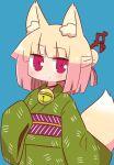 1girl alternate_costume animal_ear_fluff animal_ears bangs bell blonde_hair blue_background blunt_bangs blush closed_mouth eyebrows_visible_through_hair fox_ears fox_girl fox_tail green_kimono hair_bun hair_ornament highres japanese_clothes jingle_bell kemomimi-chan_(naga_u) kimono long_hair long_sleeves looking_at_viewer naga_u obi original red_eyes sash simple_background sleeves_past_fingers sleeves_past_wrists solo tail wide_sleeves