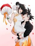 1boy 1girl :d ^_^ bangs bare_arms bare_shoulders black_eyes black_hair black_jacket blunt_bangs blurry blurry_background blush bouquet breasts carrying chi-chi_(dragon_ball) china_dress chinese_clothes closed_eyes collared_jacket commentary_request couple dragon_ball dragon_ball_z dress earrings fingernails floral_print flower gradient gradient_background haha_(haha_db) hair_bun hair_flower hair_ornament hetero high_collar highres holding holding_bouquet holding_flower husband_and_wife jacket jewelry korean_commentary long_dress long_sleeves looking_at_another looking_up medium_breasts messy_hair mixed-language_commentary muscle open_clothes open_jacket open_mouth pectorals petals pink_background profile red_flower red_rose rose shaded_face shirt side_slit sidelocks simple_background sleeveless sleeveless_dress smile son_gokuu spiky_hair teeth upper_body upper_teeth white_background white_dress white_shirt wristband