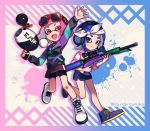 2girls :d arm_up bangs bike_shorts black_shorts black_skirt blue_background blue_eyes blue_footwear blue_hair blue_jacket blunt_bangs closed_mouth commentary domino_mask eyewear_on_head fang green_jacket gym_shorts headband headphones highres holding holding_weapon inkling inkling_(language) jacket leg_up logo long_sleeves looking_at_viewer luna_blaster_(splatoon) makeup mascara mask medium_hair miniskirt multicolored multicolored_background multicolored_clothes multicolored_jacket multiple_girls nou octoling open_mouth paint_splatter pink_background pink_eyes pink_hair pink_shirt pointy_ears red-framed_eyewear scope shirt shoes short_hair shorts shorts_under_skirt single_vertical_stripe skin_fang skirt smile splat_charger_(splatoon) splatoon_(series) splatoon_2 standing standing_on_one_leg straight-laced_footwear striped striped_shirt suction_cups sunglasses tentacle_hair twitter_username walking waving weapon white_footwear white_headband zipper
