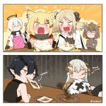 2boys 4girls arknights blush burnt_food demon_horns dragon_horns eating english_text executor_(arknights) flamebringer_(arknights) food food_in_mouth fork french_fries fried_egg halo hamburger highres horns ifrit_(arknights) knife mouth_hold multiple_boys multiple_girls owl_ears sandwich saria_(arknights) sashacall silence_(arknights) smile spatula toast toast_in_mouth vermeil_(arknights)