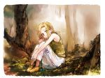 1girl awa_(12687414) blonde_hair character_name elaine eyes_visible_through_hair forest full_body green_sweater looking_at_viewer nanatsu_no_taizai nature outdoors pants short_hair sitting sketch solo sweater sweater_vest white_pants yellow_eyes yellow_footwear