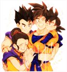 1girl 3boys :d ;d ^_^ bangs black_hair bracelet brothers carrying cheek-to-cheek chi-chi_(dragon_ball) china_dress chinese_clothes closed_eyes closed_mouth commentary_request couple d89im dougi dragon_ball dragon_ball_z dress eyelashes family father_and_son fingernails group_hug hair_bun hand_on_another's_hand hand_on_another's_shoulder hetero highres hug husband_and_wife jewelry light_particles looking_at_another messy_hair mother_and_son multiple_boys neckerchief number one_eye_closed open_mouth pectorals purple_neckwear siblings simple_background sleeveless sleeveless_dress smile son_gohan son_gokuu son_goten spiky_hair teeth upper_body upper_teeth white_background wristband