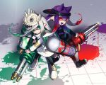 2girls back-to-back bangs black_footwear black_headwear black_jacket black_legwear blunt_bangs blunt_ends closed_mouth collar commentary domino_mask earrings fang gradient_hair green_eyes grey_hair head_tilt highres holding holding_weapon hydra_splatling_(splatoon) inkling inkling_(language) jacket jewelry leggings light_frown long_hair long_sleeves looking_at_viewer mask multicolored_hair multiple_girls no_socks nou open_mouth paint_splatter pointy_ears purple_hair purple_tongue red_eyes redhead shoes sideways_hat single_vertical_stripe skin_fang skull_hat smile sneakers splatoon_(series) splatoon_2 standing tentacle_hair twitter_username visor_cap weapon white_collar white_footwear white_headwear