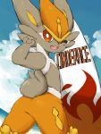 ;d alternate_color brown_eyes bunny_focus character_name cinderace commentary_request creature gen_8_pokemon highres minamo_(pixiv17726065) no_humans one_eye_closed open_mouth pokemon pokemon_(creature) rabbit shiny_pokemon smile solo surfboard