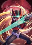 android blonde_hair closed_mouth energy_blade energy_sword helmet highres holding holding_weapon kuroi_susumu male_focus rockman rockman_zero sword weapon zero_(rockman)