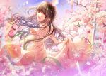 1girl :d braid brown_eyes brown_hair butakimuchi cherry_blossoms day dress droplet looking_back open_mouth outdoors smile spinning twilight white_dress