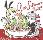 2girls amatsukaze_(kantai_collection) animal_ears blonde_hair commentary_request dagappa fake_animal_ears followers genderswap genderswap_(mtf) headband highres kantai_collection multiple_girls sailor_collar shimakaze_(kantai_collection) short_eyebrows sidelocks thank_you translation_request udon