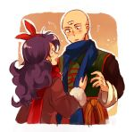 1boy 1girl bald blue_scarf blush chinese_clothes coat commentary_request dragon_ball dragon_ball_(classic) earrings eye_contact flying_sweatdrops green_earrings hetero jewelry long_hair looking_at_another lunch_(dragon_ball) neko_ni_chikyuu open_mouth purple_hair red_scarf scarf tenshinhan third_eye winter_clothes