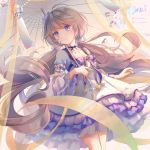 1girl artist_name bell blue_neckwear breasts collarbone commentary_request dress eyebrows_visible_through_hair flower hair_between_eyes hair_flower hair_ornament highres holding holding_umbrella houchi_shoujo kamui_(kamuikaoru) layered_dress light_brown_hair long_hair long_sleeves looking_at_viewer low_twintails neck_ribbon ribbon small_breasts solo twintails umbrella very_long_hair violet_eyes white_dress