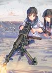 2girls bangs black_eyes black_hair blue_neckwear blunt_bangs daito eyebrows_visible_through_hair firing fubuki_(kantai_collection) gloves gun hatsuyuki_(kantai_collection) heavy_machine_gun hime_cut holding holding_gun holding_weapon kantai_collection long_hair low_ponytail machine_gun multiple_girls neckerchief ponytail sailor_collar school_uniform serafuku short_ponytail short_sleeves sidelocks type_92_(heavy_machine_gun) upper_body weapon white_gloves