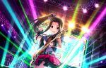 black_hair blush dress guitar idolmaster_cinderella_girls_starlight_stage long_hair side_ponytail smile suzumiya_seika violet_eyes