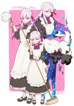 3girls alternate_costume apron bangs black_dress black_footwear blue_fire blush border breasts broom burnt_clothes dress duster enmaided fate/grand_order fate_(series) fire hair_ribbon highres juliet_sleeves kama_(fate/grand_order) large_breasts long_hair long_sleeves looking_at_viewer maid maid_day maid_headdress medium_breasts multiple_girls multiple_persona pink_background puffy_sleeves red_eyes redrop ribbon short_hair silver_hair small_breasts sparkle white_apron white_border white_legwear