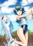 1girl beach blouse blue_eyes blue_hair blue_sky blue_swimsuit clouds collar day eyebrows_visible_through_hair fishing fishing_line fishing_rod freckles gen_7_pokemon highres holding holding_fishing_rod kogawawaki ocean pokemon pokemon_(anime) pokemon_(game) pokemon_sm pokemon_sm_(anime) sailor_collar school_swimsuit short_hair sky sleeveless suiren_(pokemon) swimsuit swimsuit_under_clothes water white_blouse wishiwashi