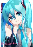 1girl aqua_eyes aqua_hair aqua_neckwear artist_name bangs bare_shoulders black_sleeves braid breasts character_name collared_shirt detached_sleeves eyebrows_visible_through_hair grey_shirt hair_between_eyes hand_on_own_cheek hatsune_miku head_rest head_tilt highres long_sleeves looking_at_viewer necktie shirt simple_background small_breasts solo striped takepon1123 twin_braids upper_body vertical_stripes vocaloid white_background