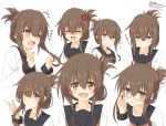 1girl :d @_@ anger_vein bespectacled black_sailor_collar brown_eyes brown_hair folded_ponytail glasses inazuma_(kantai_collection) kantai_collection kisaragi_yuu_(re:lucks) long_hair looking_at_viewer multiple_views neckerchief open_mouth pout red_neckwear sailor_collar school_uniform serafuku shirt signature simple_background smile twitter_username upper_body white_background white_shirt