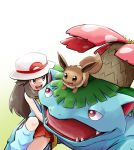 1girl :d ayo_(ayosanri009) bag blue_(pokemon) blue_shirt brown_eyes brown_hair commentary_request creature eevee eye_contact eyelashes fangs gen_1_pokemon handbag happy hat leg_warmers long_hair looking_at_another miniskirt on_head open_mouth pokemon pokemon_(creature) pokemon_(game) pokemon_frlg pokemon_on_head porkpie_hat red_eyes red_skirt shirt simple_background skirt sleeveless sleeveless_shirt smile venusaur white_background white_hair