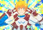 1boy ahoge armor arthur_pendragon_(fate) bangs black_gloves blonde_hair blue_background blue_eyes blush breastplate closed_mouth double_v elle62145 emotional_engine_-_full_drive fate/grand_order fate/prototype fate_(series) gauntlets gloves green_eyes hair_between_eyes hands_up hood hood_down looking_at_viewer parody pauldrons short_hair smile solo sparkle sunburst sunburst_background v yellow_background