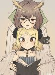 2girls arknights armband blonde_hair book brown_hair commentary_request demon_horns eyebrows_visible_through_hair glasses highres horns ifrit_(arknights) multiple_girls ore_lesion_(arknights) owl_ears radioneet reading rhine_lab_logo silence_(arknights) teaching