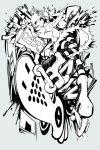 1girl bangs bis_(jsr) closed_mouth dress full_body fur-trimmed_dress fur-trimmed_sleeves fur_collar fur_trim graffiti greyscale hankuri holding jet_set_radio long_sleeves looking_at_viewer monochrome pantyhose roller_skates short_dress short_hair skates solo spray_can striped striped_legwear