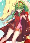 +5cm 1girl blush bracelet cape commentary cowboy_shot dragon dress fire_emblem fire_emblem:_mystery_of_the_emblem gradient gradient_background green_eyes green_hair highres jewelry long_hair looking_at_viewer manakete multiple_persona open_mouth pink_dress pointy_ears ponytail red_cape short_dress side_slit sleeveless sleeveless_dress smile solo thighs tiara tiki_(fire_emblem)