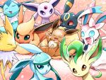 :3 :d ayo_(ayosanri009) brown_eyes closed_eyes closed_mouth commentary_request creature eevee espeon facing_viewer fangs flareon gen_1_pokemon gen_2_pokemon gen_4_pokemon gen_6_pokemon glaceon green_eyes happy jolteon leafeon looking_at_viewer no_humans open_mouth pink_background pokemon pokemon_(creature) smile sylveon umbreon vaporeon violet_eyes