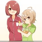 2girls arms_behind_back blush bowl brown_eyes brown_hair commentary_request drawstring eyebrows_visible_through_hair green_hoodie hair_over_one_eye highres holding holding_bowl holding_whisk hoshino_miyako_(wataten) jacket konomori_kanon light_brown_hair looking_at_another looking_at_object manse mixing mixing_bowl multiple_girls open_mouth simple_background sweatdrop track_jacket track_suit watashi_ni_tenshi_ga_maiorita! whisk white_background