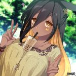 1girl ? animal_ears black_hair blonde_hair bracelet breasts brown_eyes bubble_tea bubble_tea_challenge cup dairoku_youhei dark_skin day disposable_cup drinking drinking_straw facial_mark hair_between_eyes hair_ornament hand_up jewelry l_(matador) long_hair looking_at_viewer multicolored_hair necklace outdoors pose shirt solo tree two-tone_hair upper_body