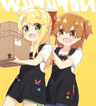2girls :3 :d apron black_apron blonde_hair blush bow box brown_eyes brown_hair commentary_request copyright_name eyebrows_visible_through_hair fang green_eyes hair_bow highres himesaka_noa holding holding_box hoshino_hinata looking_at_another manse multiple_girls open_mouth pen red_bow shirt simple_background skin_fang smile watashi_ni_tenshi_ga_maiorita! white_shirt yellow_background