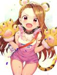 1girl absurdres animal_ears blush brown_hair collar commentary confetti cowboy_shot eyebrows_visible_through_hair fake_animal_ears fake_tail fangs fur_trim gloves gym_shorts headband highres idolmaster idolmaster_(classic) long_hair looking_at_viewer minase_iori name_tag open_mouth paw_gloves paws red_eyes sash shennai_misha short_shorts shorts simple_background sketch smile solo sparkle stuffed_animal stuffed_bunny stuffed_toy tail tank_top thigh_gap tiger_ears tiger_paws tiger_tail v-shaped_eyebrows white_background